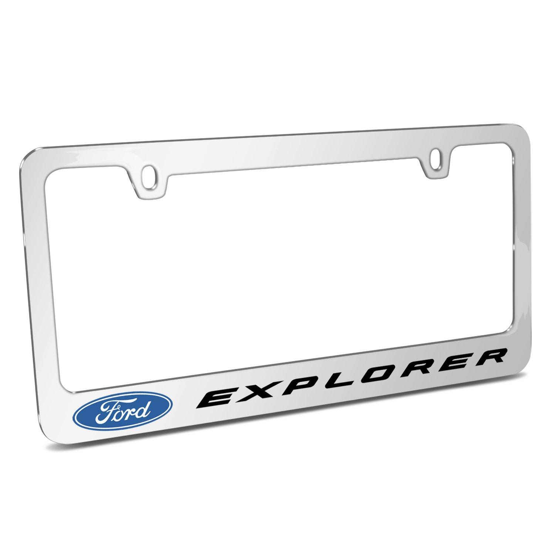 Ford Explorerミラークロームメタルライセンスプレートフレームby Ipickイメージ、公式ライセンス製品、Made in the USA   B074XFS749