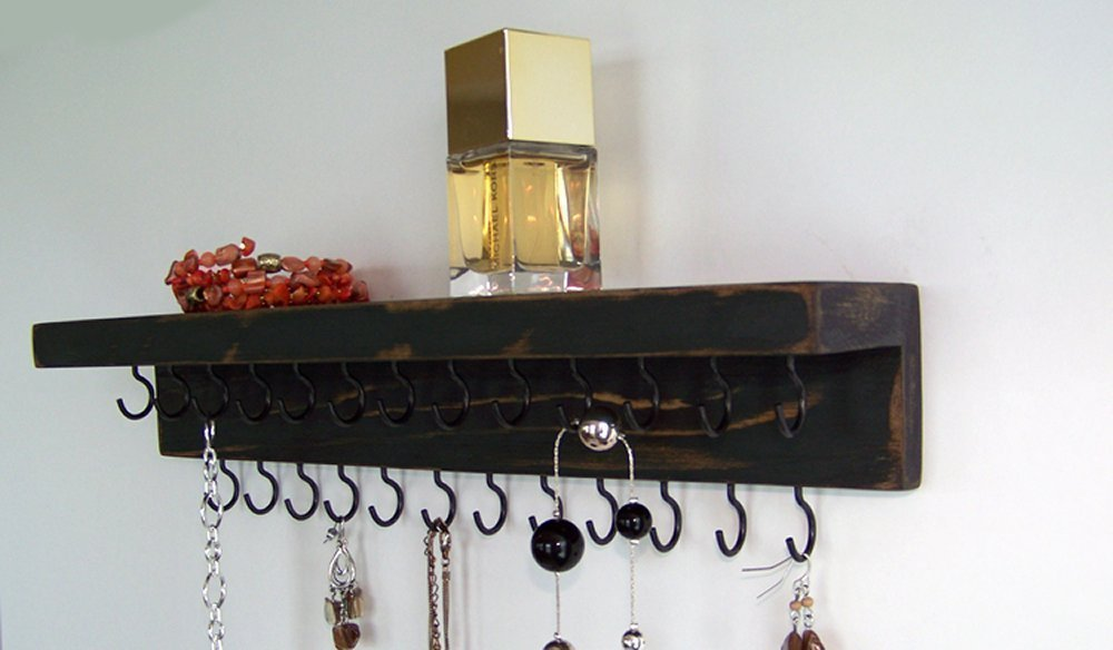 Necklace Organizer by Out Back Craft Shack: Farmhouse Wall Jewelry Holder with Shelf; Rustic Black