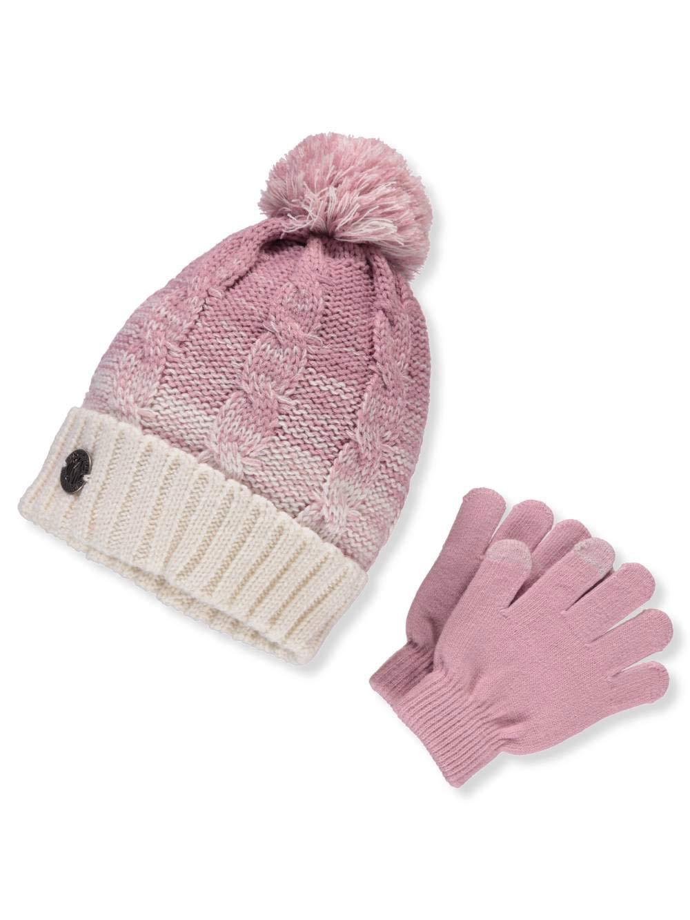 DKNY Girls' Beanie and Gloves Set - Off White, 7-16