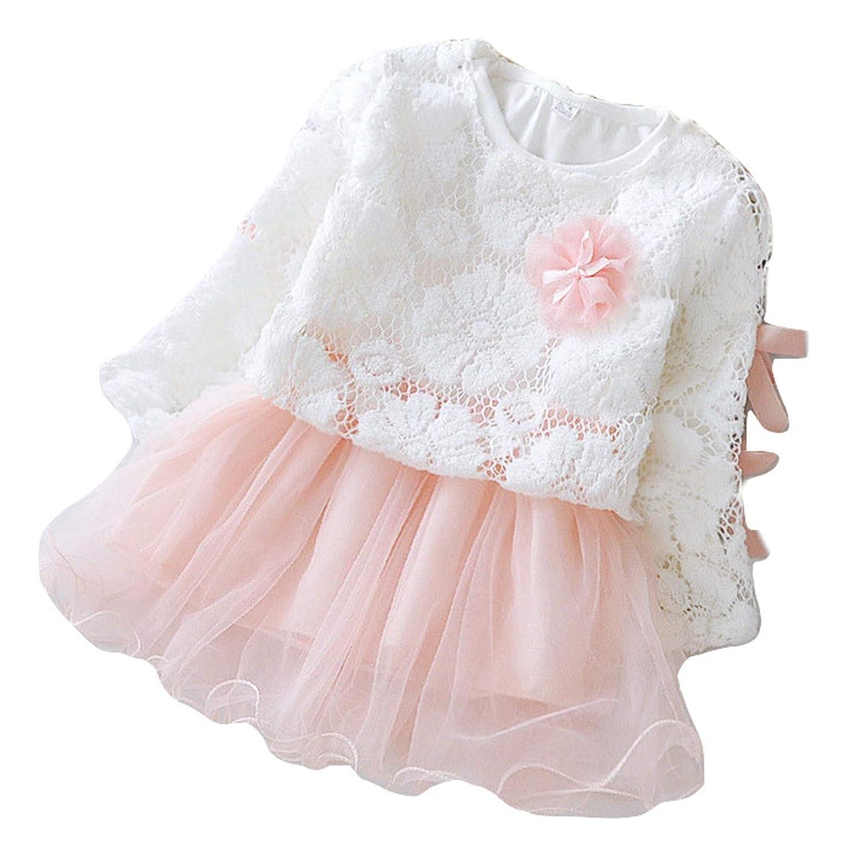 PICCOLI MONELLI Vestito Bambina Cerimonia Elegante Maglietta in Pizzo e Gonnellina Tulle Rosso e Rosa