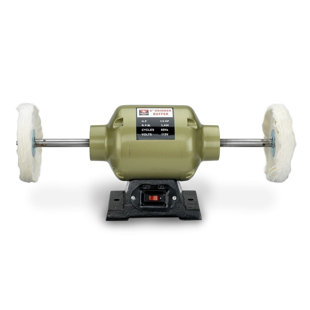 Neiko 10205A 6'' Benchtop Grinder and Buffer, 1/2 HP, Long Shaft with 2 Buffing Wheels, 3, 450 rpm, Clear