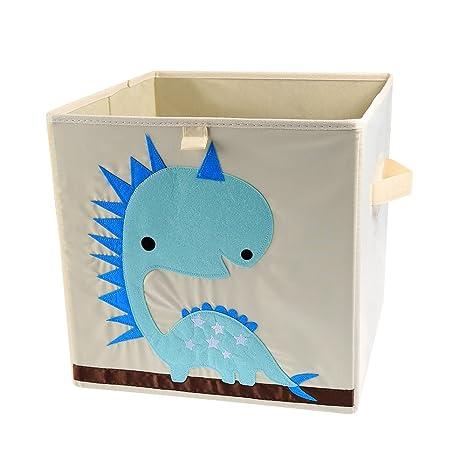 LEADSTAR Plegado Niños Juguetes Caja de almacenaje Animal Caja No Tejidos Organizador sin Tapa 33x33x33cm (Dinosaurio)