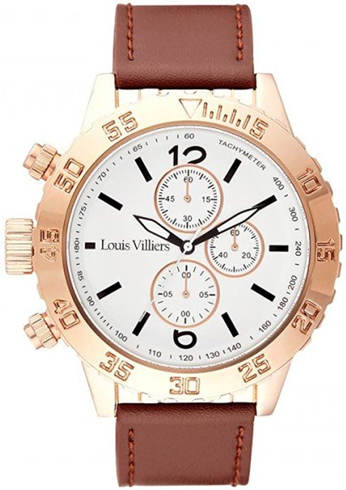 Louis Villiers Reloj Analógico para Unisex Adultos de Cuarzo con Correa en Cuero LV1030