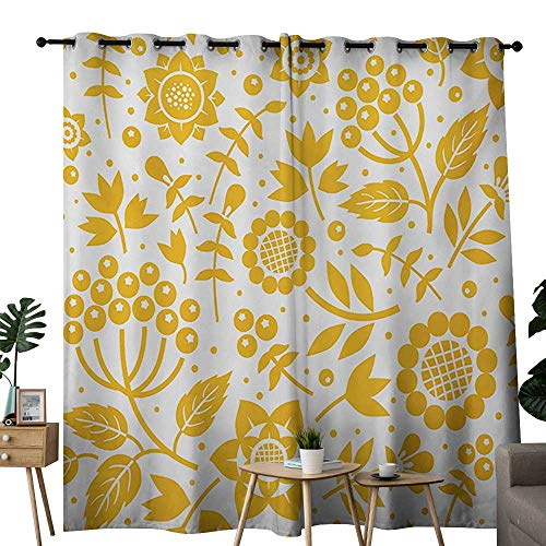 NUOMANAN Curtains for Bedroom Yellow Flower,Rustic Composition with Berries Twigs Graphic Flora Nature Leaves Pattern,Yellow White Curtain Panels for Bedroom & Kitchen,1 Pair52 x72