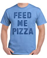 Brisco Brands Feed Me Pizza Funny Shirt | Eat Pepperoni Couch Potato Lazy T-Shirt Tee