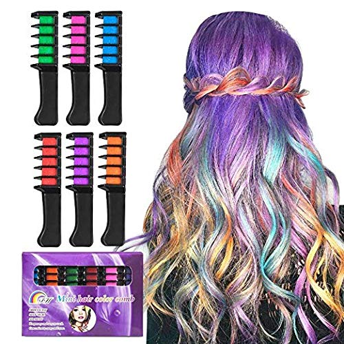 BATTOP Bright Hair Chalk Set-Metallic Glitter Hair Chalk Comb for Kids and Party (6 Pcs-Comb)