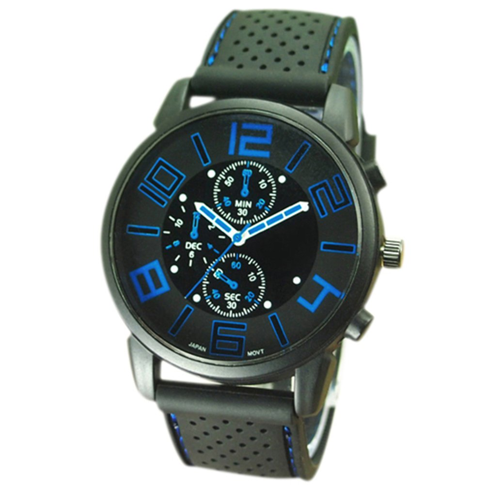 FinancePlan Men's Fashion Quartz Analog Watches, Silicone Rubber Band Stainless Steel Wrist Watch on Sale Clearance by FinancePlan (Image #1)