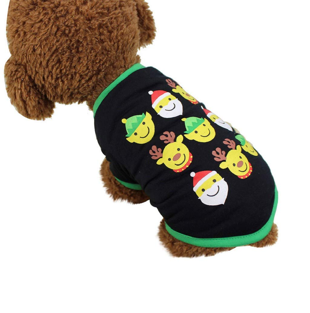 Pet Clothes,JHKUNO Dog Lovely T-Shirt Soft and Thin Vest Cute Facial Expression Print Puppy Gathering Walk Clothes