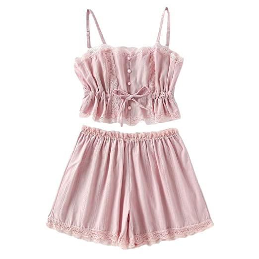 b45cfd8509 Contrast Lace Shorts Pajama Set Women Pink Spaghetti Strap Sleeveless  Drawstring Waist Cute Sleepwear at Amazon Women s Clothing store