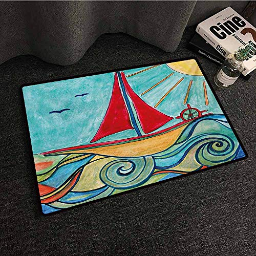 Zzmdear Art Interior Door mat Baby Boy Paintings Ship in The Waves of Ocean Sun Kids Girls Nursery Picture Breathability W30 xL39 Teal Red Earth Yellow]()
