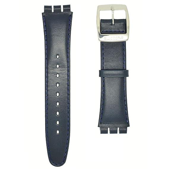 Correa piel azul para relojes Swatch Irony Chrono AYCS004 19mm: Amazon.es: Relojes