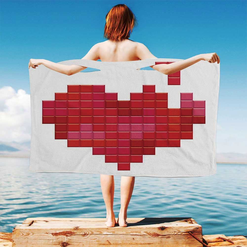 iPrint Valentines-Day Quick Dry Plush Microfiber (Towel+Square scarf+Bath towel) Video-Game-Tetris-Red-Heart-Vintage-Pixelated-Design-Joyful-Romantic And Adapt to any place