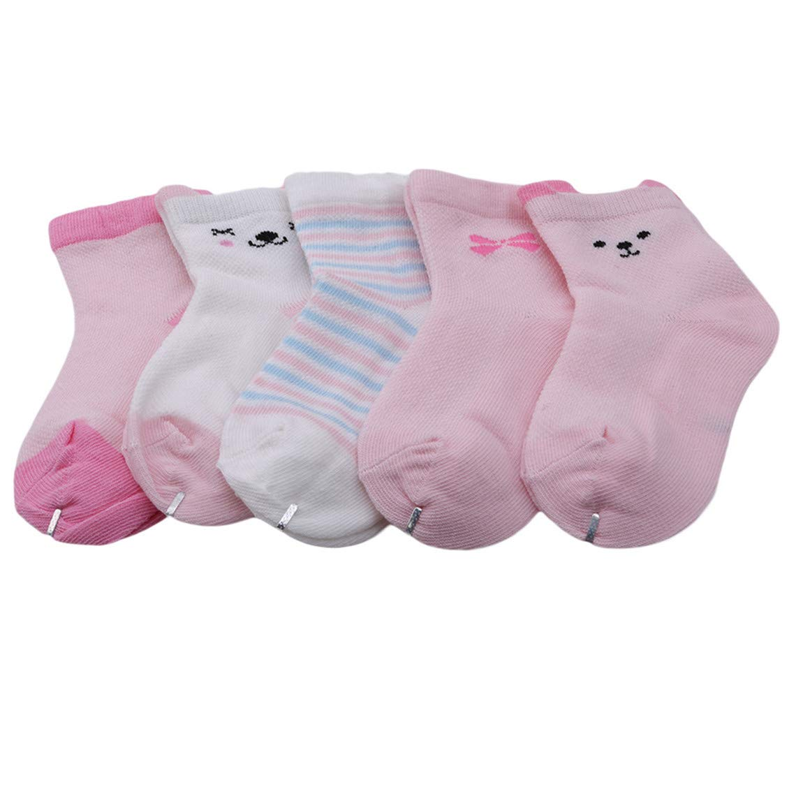 CH Baby Summer Warm Cotton Mesh Thin Socks Cute Cartoon Sweet Animal ShapedSoft Breathable Socks Good For Gift 5pcs Pink Rabbit L
