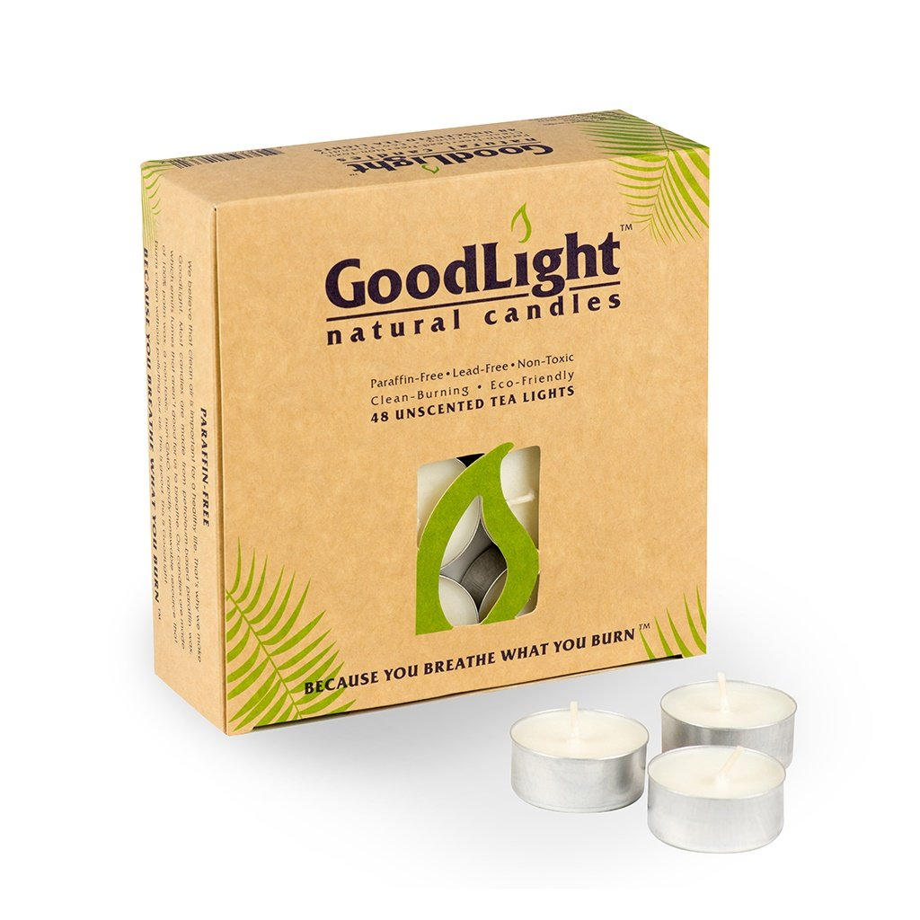 GoodLight Paraffin-Free Tea Lights Pack of (48)