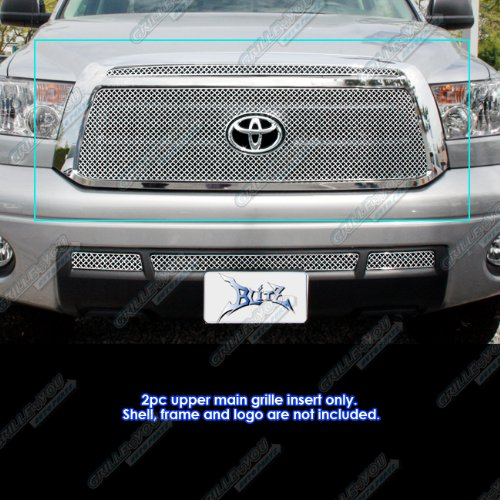 APS Compatible with 2010-2013 Toyota Tundra with Logo Show Stainless X Mesh Grille Insert TX6718S