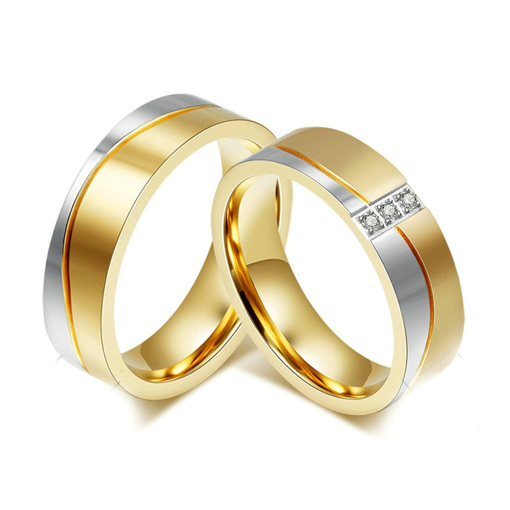 Daesar Mens Womens Wedding Bands Stainless Steel Ring for Couples Silver Gold Rings CZ with Gift Box