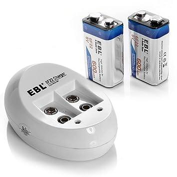 EBL 9 V Baterías de Li-Ion batería (2pc) y Smart 9 V ...