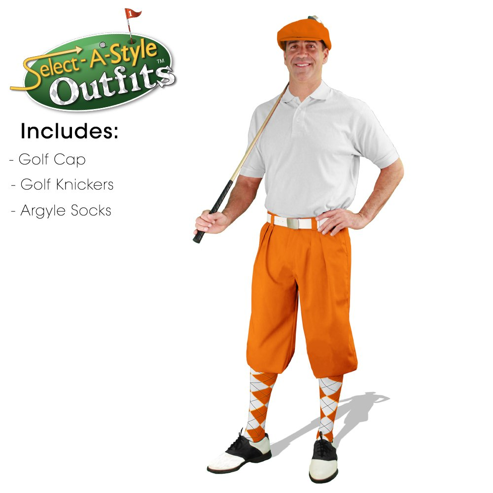 Golf Knickers Mens Select-A-Style Outfit - Orange - Waist 32 - Sock - NY/OR