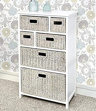 Tetbury Large White Cabinet With 6 Whitewash Storage Baskets Solid Hallway Bathroom Cabinet Paneled Sides And Back Fully Assembled