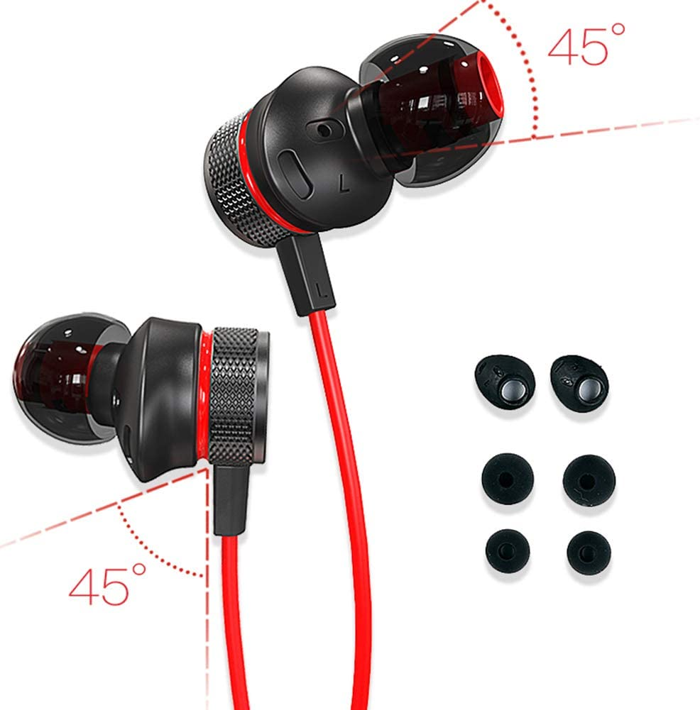 AGW in-Ear Gaming Headset Mobile Computer Esport Gaming Headset Listening Voice Anchor Anchor Music Earbuds L-Type 3.5mm Plug for All 3.5mm Audio Equipment.-Black