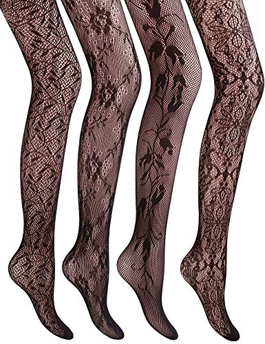 (VERO MONTE 4 Styles Women's Fishnet Stockings Tights Fishnet Tights High Waist )