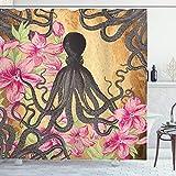 Ambesonne Octopus Shower Curtain, Kraken Roses Leaves Tentacles...