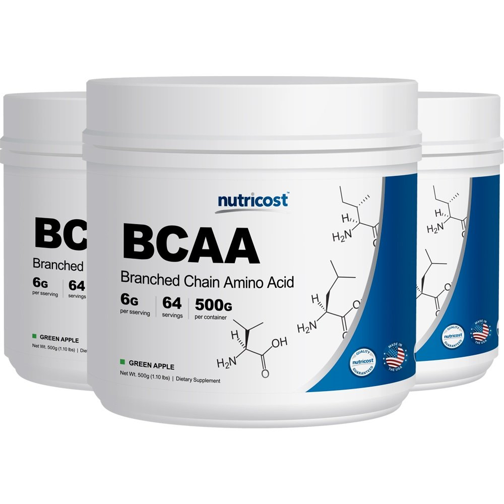 Nutricost BCAA Powder - 2:1:1 (Green Apple, 3 Bottles) - 500 Grams Each