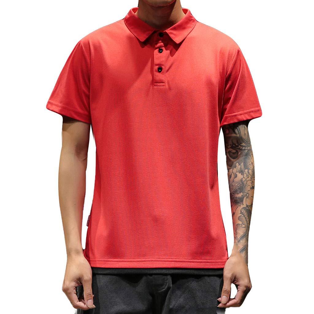 Kawaiine Fashion Plus Size Men Casual Lapel Short Sleeve Stitching Tee Red