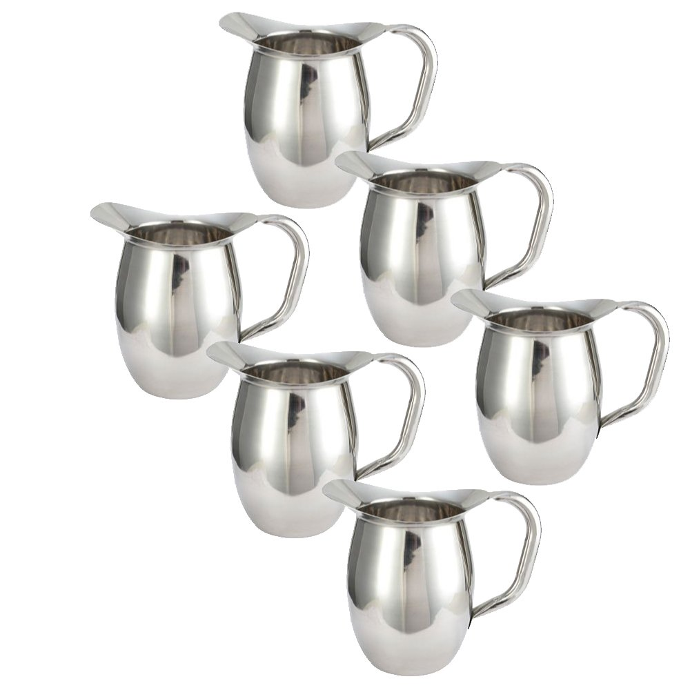 Tiger Chef Deluxe Bell Pitcher - 3 Qt. Stainless Steel Bell Pitcher, Catering Pitchers, 96 oz. (6)