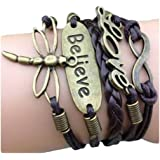 Axixi Multi Choice-Vintage Style Leather Rope Love Bracelet