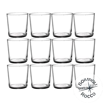 Bormioli Rocco Bodega 35,5 cl Vasos - Juego de 12 + AmazonBasics - Juego de Utensilios de Cocina antiadherentes, 15 Piezas