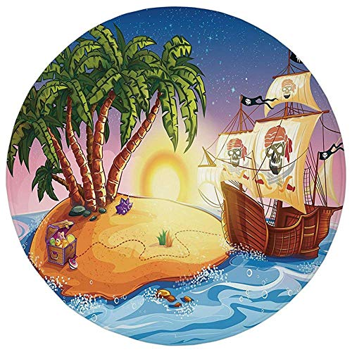 Round Rug Mat Carpet,Pirate Ship,Ghost Ship on Exotic for sale  Delivered anywhere in Canada