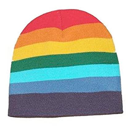 e1115403ffd Amazon.com  Rainbow Beanie Cap - Lesbian Gay Pride Parade Flag Apparel  Costume Hat - LGBT  Garden   Outdoor