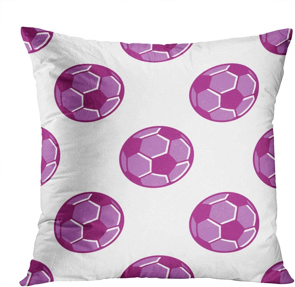 Llsty Throw Pillow Covers 16 x 16 inches Soccer Ball Seamless Pattern Football Cartoon Polyester Soft Square for Couch Sofa Bedroom Living Room Home Decor