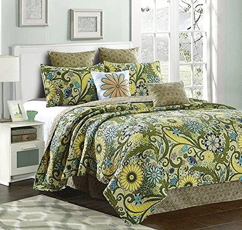 Virah Bella Reversible Flower and Vines/Sun Burst 5 Piece Green Quilt