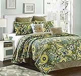 Virah Bella Reversible Flower and Vines/Sun Burst 5 Piece Green Quilt,Sham, and Throw Pillow Set (Chloe, Queen/Full)