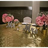 MR and MRS signo boda signo plata glitter boda decoración boda Mr & Mrs Letras, Escarcha plateada, 17.7 cm, 1