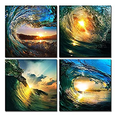 Natural art-Sunrise in Sea Wave Art, Ocean View Painting, Print on Canvas, Wall Decoration, Wrapped with Wooden Frame, Easy to Hang