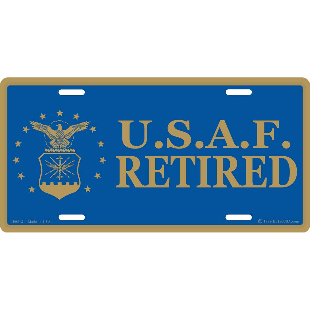 Artisan Owl United States Air Force Retired USAF Automobile Metal License Plate Including Fastener Screws
