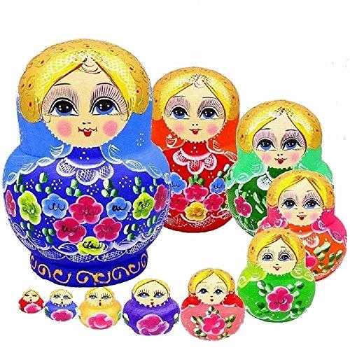 King&Light - 10pcs Peony Multicolor Russian Nesting Dolls Matryoshka Toys by K&L
