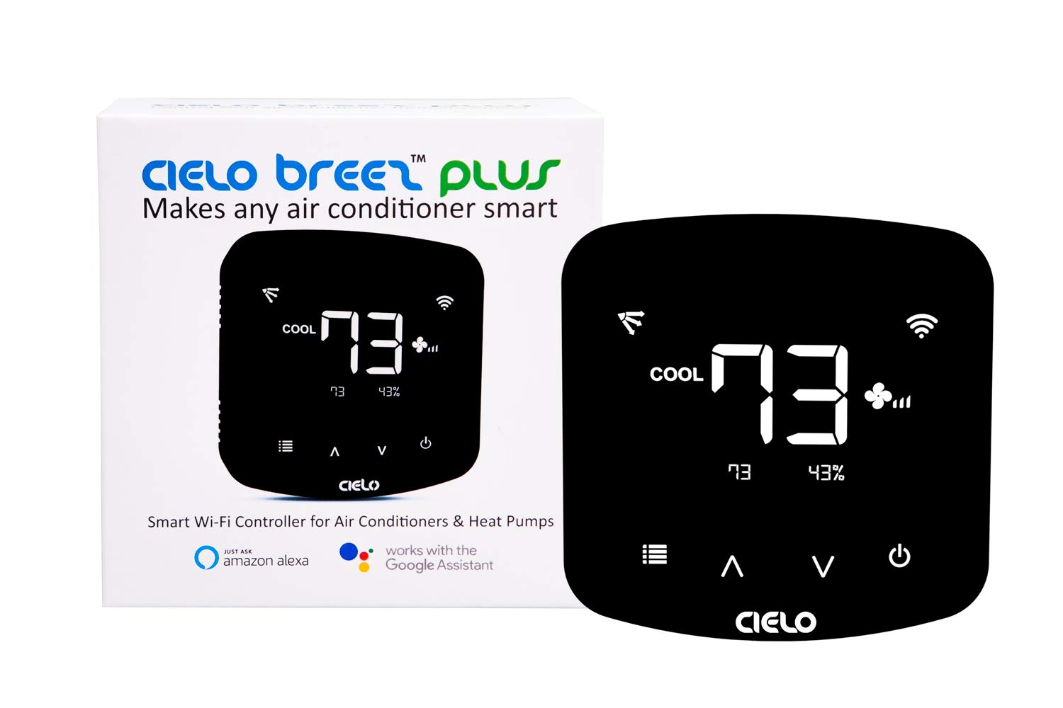 Cielo Breez Plus, Smart Air Conditioner Remote Controller | WiFi Enabled, works with Amazon Alexa & Google Home, iOS, Android & Web | Power up through 24V OR using 5V adapter that comes in the box