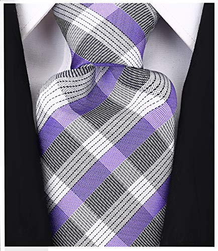 (Check Stripe Ties for Men - Woven Necktie - Purple)