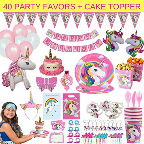 Unicorn Party Supplies - 197 pc Set With Unicorn Themed Party Favors! Pink Unicorn Headband for Girls, Birthday Party Decorations, Unicorn Balloons, Pin the Horn on the Unicorn Game and - Decorations Party Supplies