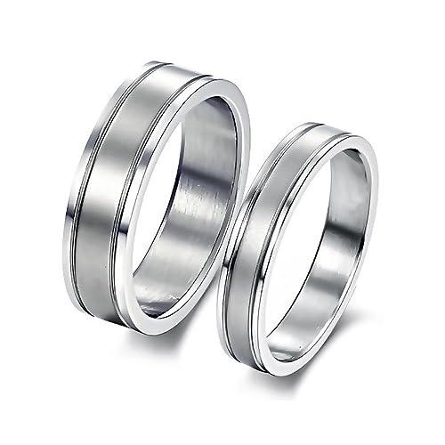 ac3fe9f96137 BOBIJOO Jewelry - Alianza Anillo Anillo De Acero Inoxidable Cepillado  Opción Única Aleta De Compromiso De