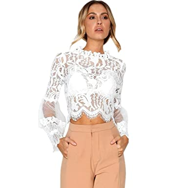 0626ea3dcfa7 Fashion Womens Solid Lace Sexy Casual Cotton Tops Shirts Hollow Out Flare Long  Sleeve Short Blouse