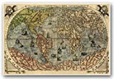 "ITALIAN Old World Exploration Angel & Cherub MAP by Paolo Forlani circa 1565 - measures 24"" high x 36"" wide (610mm high x 915mm wide)"