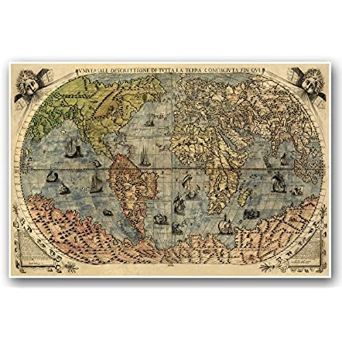 Old map amazon italian old world exploration angel cherub map by paolo forlani circa 1565 measures 24 high x 36 wide 610mm high x 915mm wide gumiabroncs Gallery