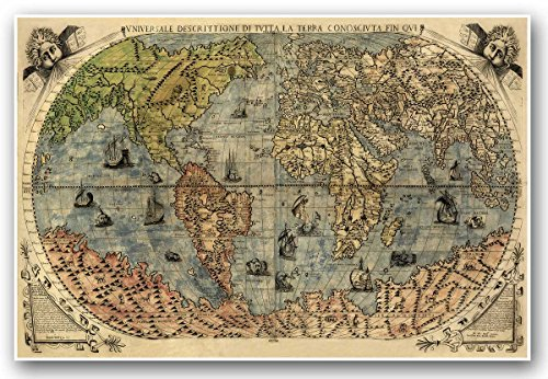 Map Poster Old World (ITALIAN Old World Exploration Angel & Cherub MAP by Paolo Forlani circa 1565 - measures 24
