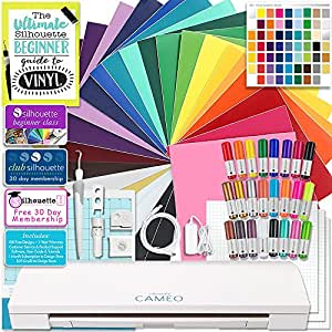 Silhouette CAMEO 3 Bluetooth Starter Bundle with 26 12x12 Oracal 651 Sheets, Oracal Swatch Book, Transfer Paper, Guide, Class, Membership, 24 Sketch Pens, and More