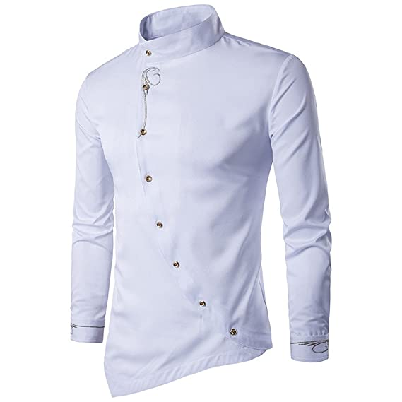 d59851e23eba Camicia Uomo LandFox Slim Fit Maglietta del Ricamo della Maglietta delle  Camicie della Maglietta della Camicia